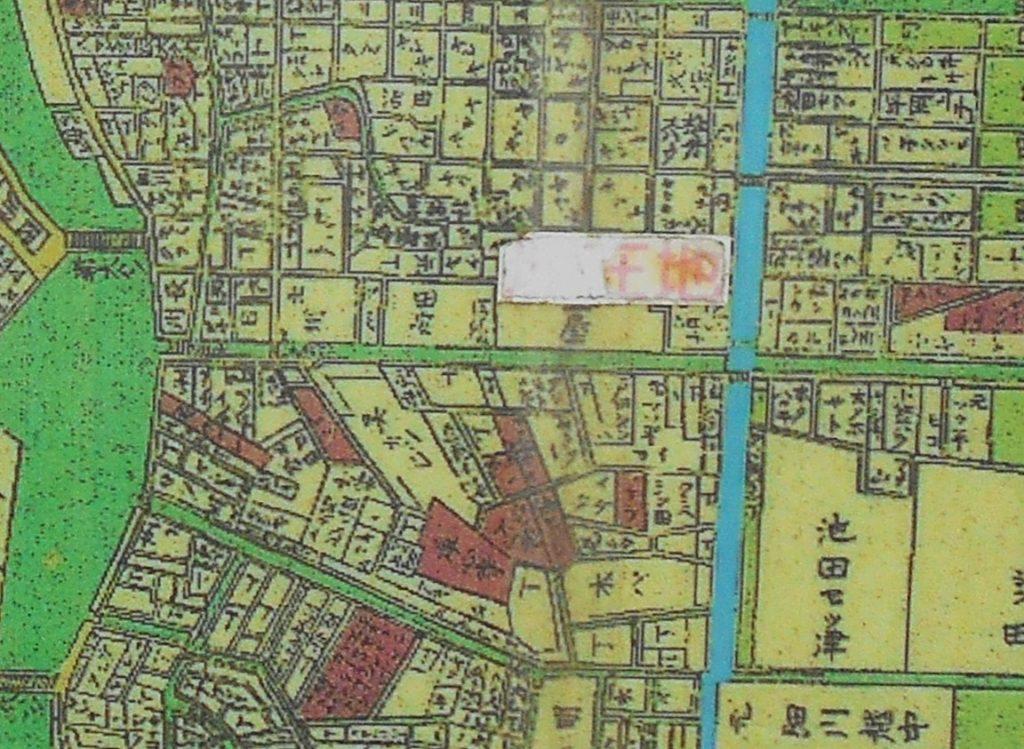 猿江橋案内板に掲載された明治初めの本所・深川の地図【部分】の画像。