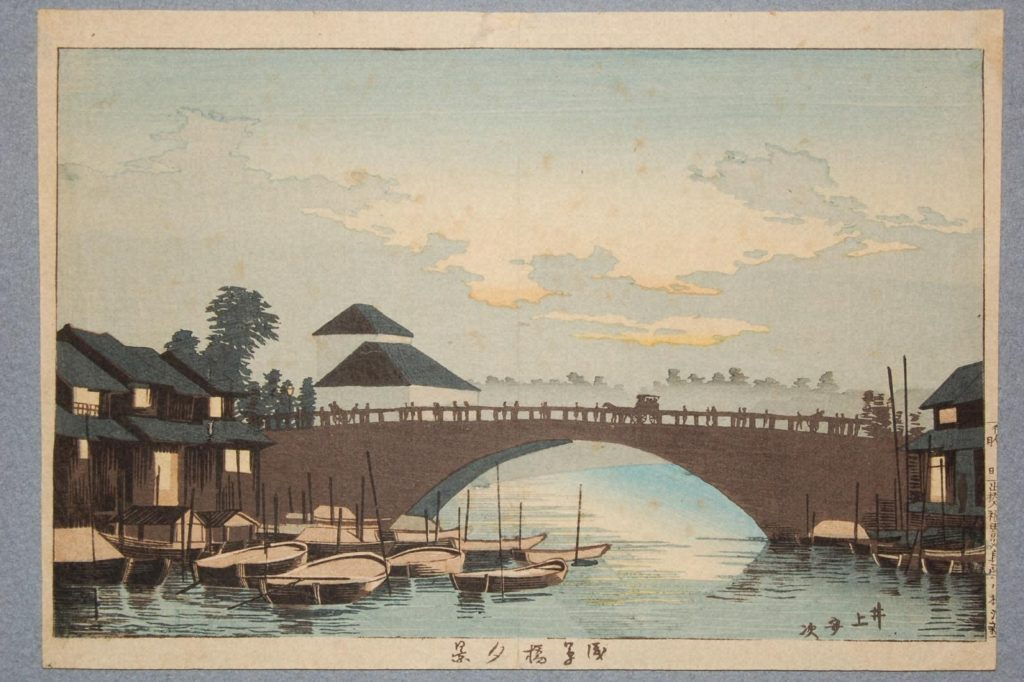 井上安治「浅草橋夕景」明治12年 の画像。