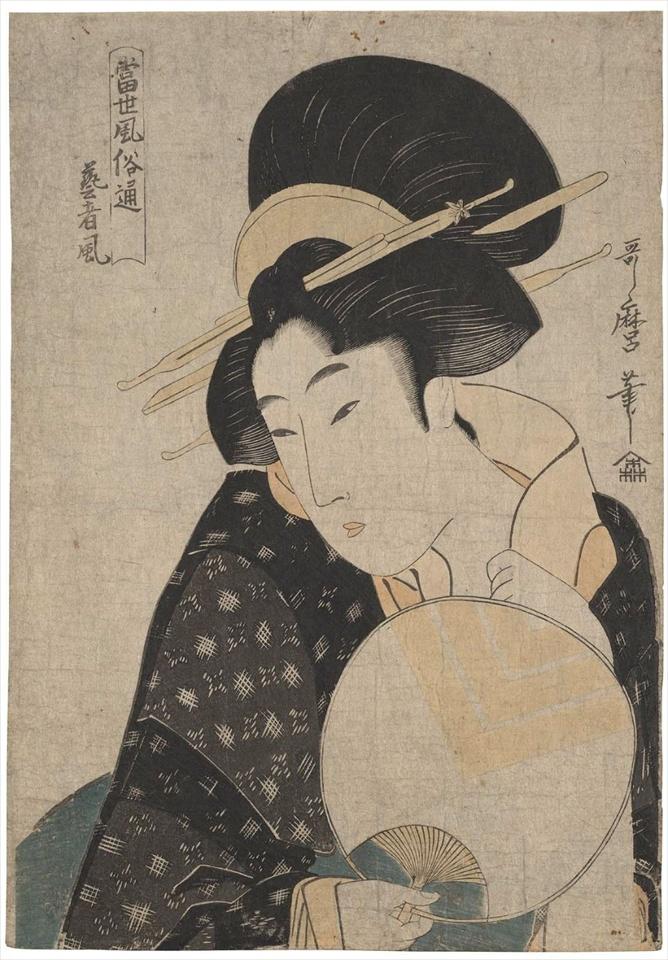 喜多川歌麿作の団扇を持つ美人の浮世絵画像。