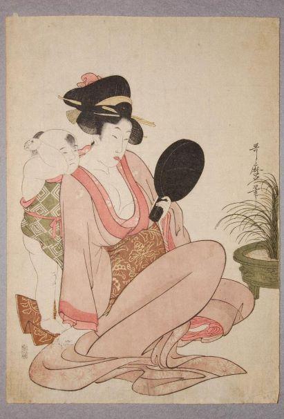 喜多川歌麿「手鑑の母子」(文化元年)の画像。