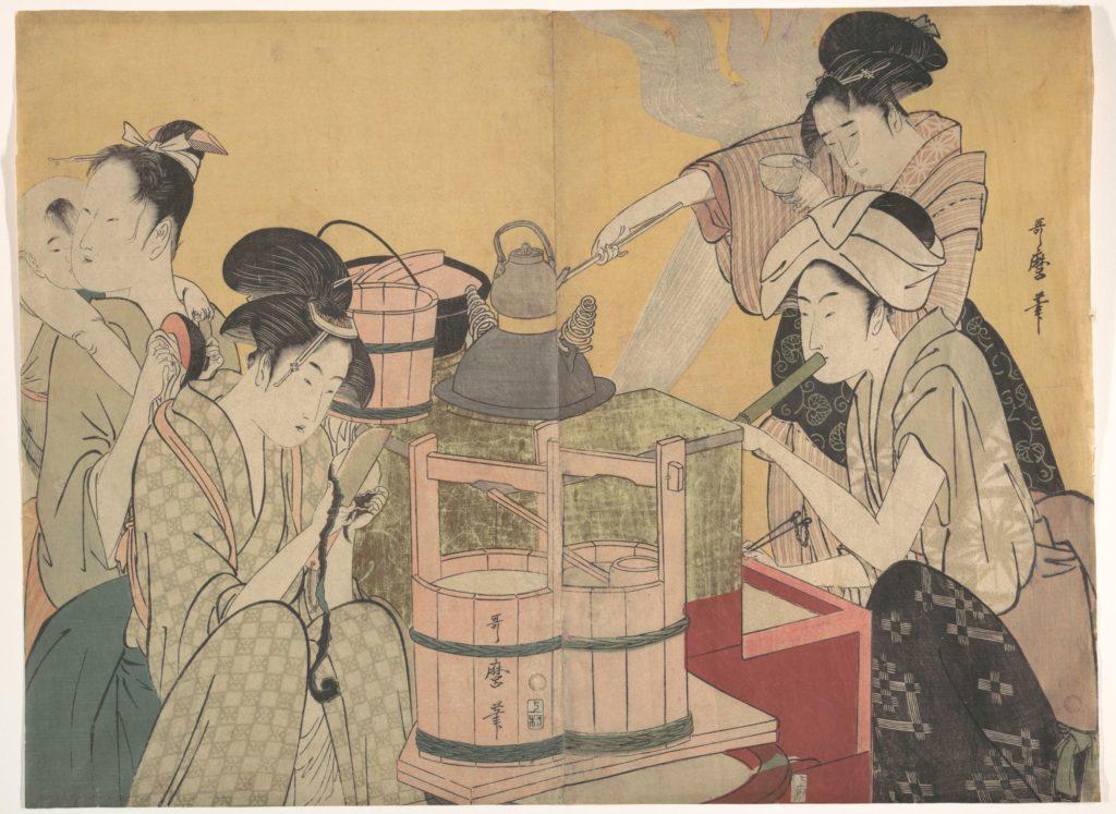 喜多川歌麿「料理美人図」(1794~95 メトロポリタン美術館蔵)の画像