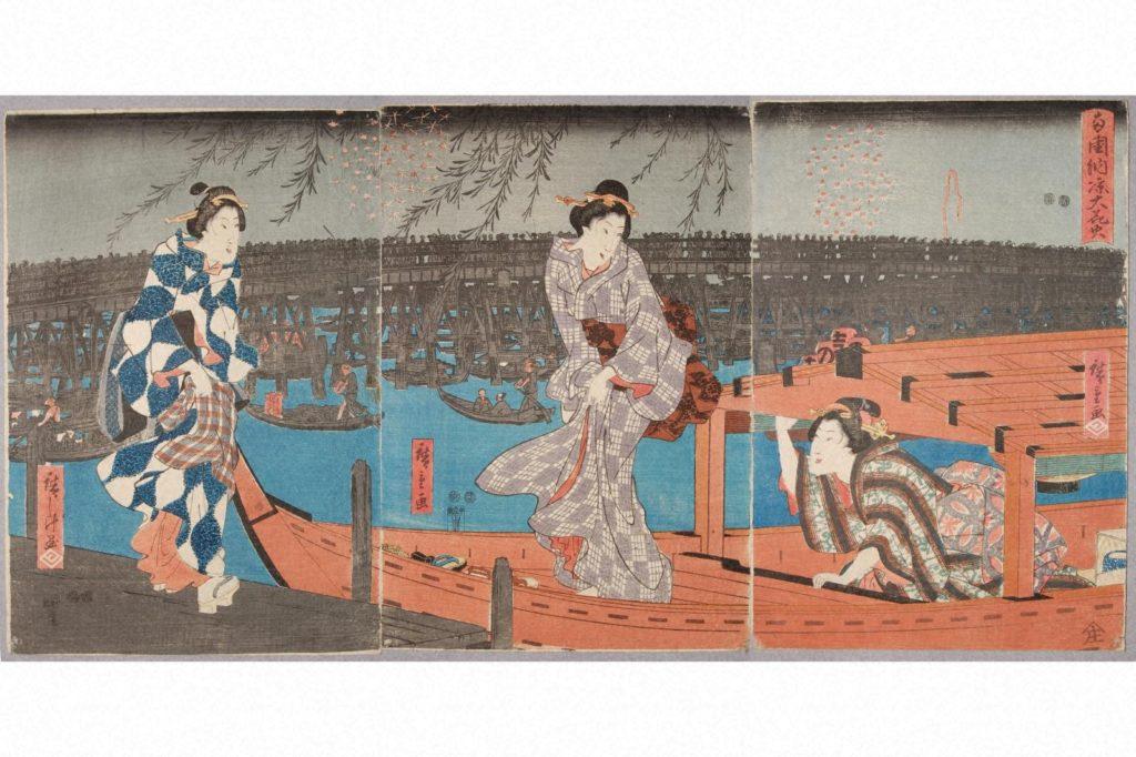 歌川広重「両国納涼大花火」弘化4~嘉永5(1847~1852)の画像。