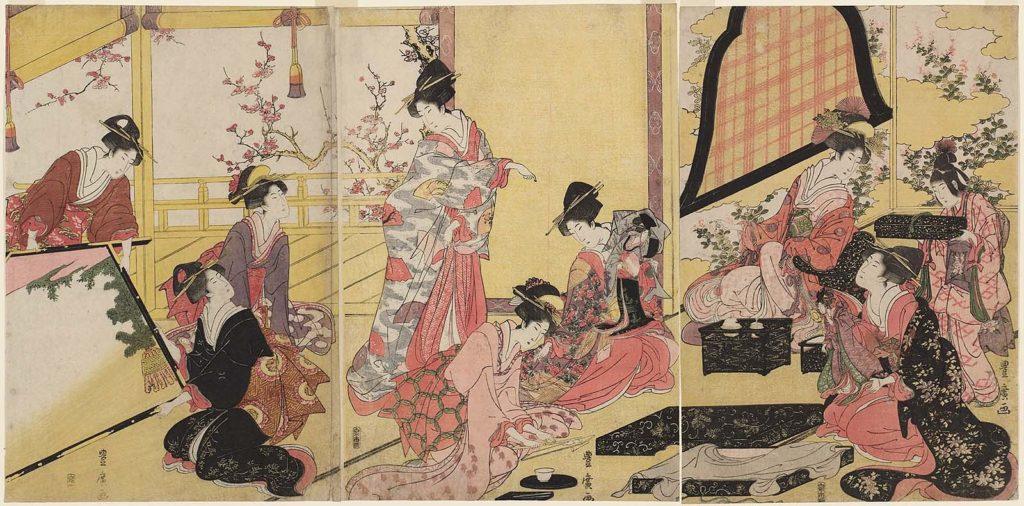 歌川豊広「押絵細工の図」(享和年間(1801~04))の画像。