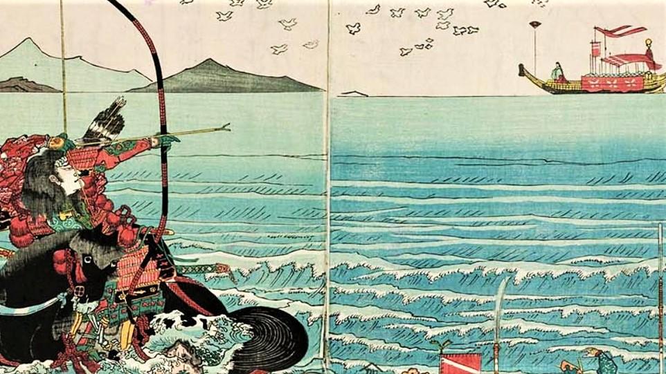 遠浪斎重光「源平八島のたたかひに那須の与市宗高 扇のまとを射おとして天下に高名の図」【部分】の画像。