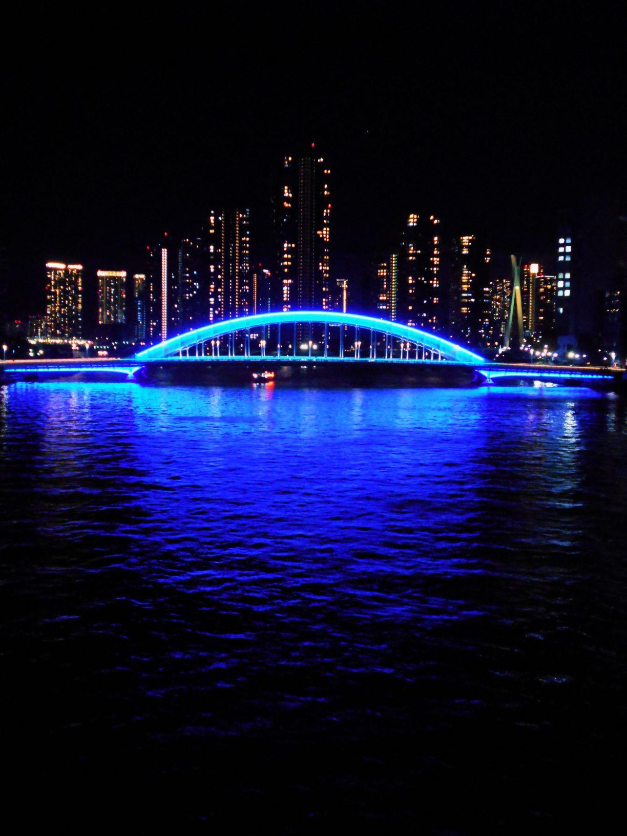 ライトアップされた永代橋と湾岸ビル群の画像。