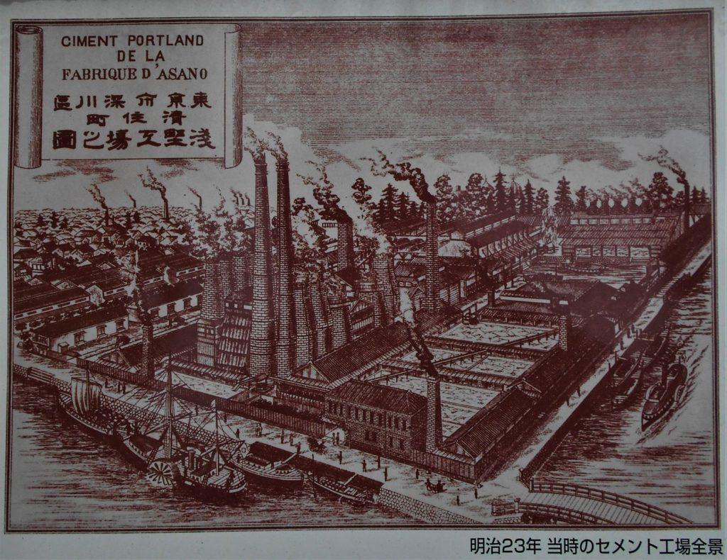 日本のセメント発祥の地に建てられた記念碑に掲載されている創業時(明治23年)の浅野セメントの画像。