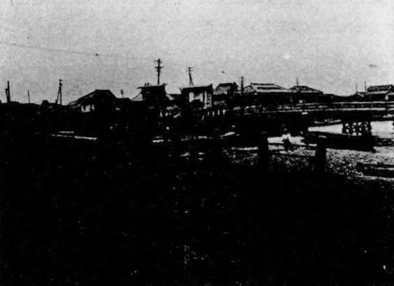 『深川区史』掲載の震災前の猿江三橋の画像。