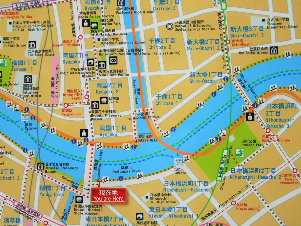 首都高速両国大橋付近の地図の画像。