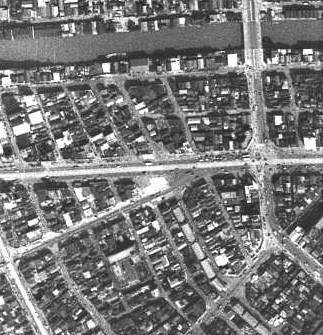 昭和27年撮影空中写真(国土地理院Webサイトより、USA-M288-47【大和橋付近】