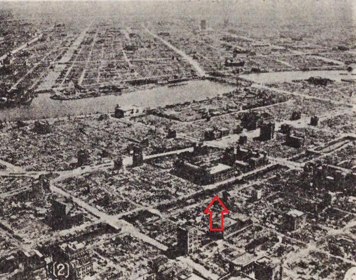 「東京大空襲で焦土と化した東京」(『日本橋消防署百年史 明治14年-昭和56年』日本橋消防署、1981国立国会図書館デジタルコレクションに加筆)の画像。