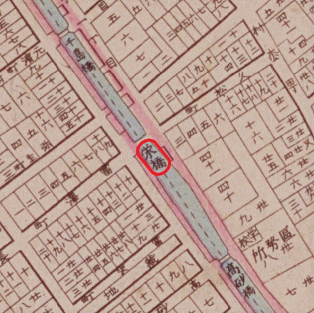 『明治東京全図』(明治9年、国立公文書館デジタルアーカイブ【栄橋部分】)の画像。