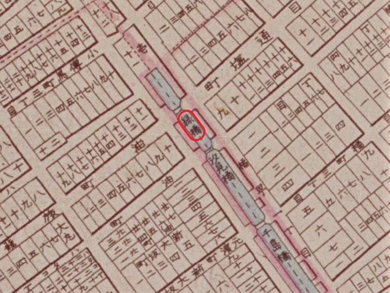 『明治東京全図』(明治9年(1876)国立公文書館デジタルアーカイブ【緑橋部分】に加筆)の画像。