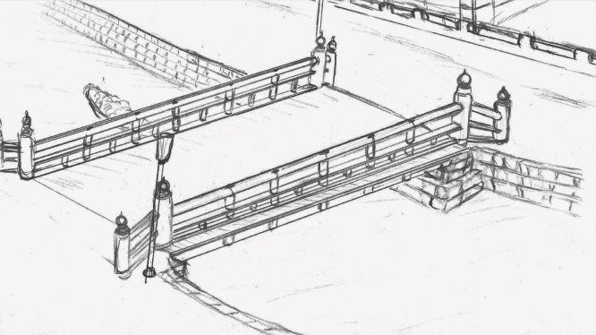 元高砂橋想像図の画像。