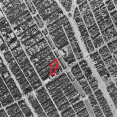 昭和19年撮影の空中写真(国土地理院Webサイトより、8921-C2-19 【元高砂橋部分に加筆】の画像。