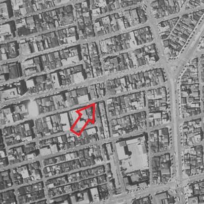 昭和32年撮影の空中写真(国土地理院Webサイトより、KT572YZ-C1-28(1957・3・29)【栄橋部分】)の画像。