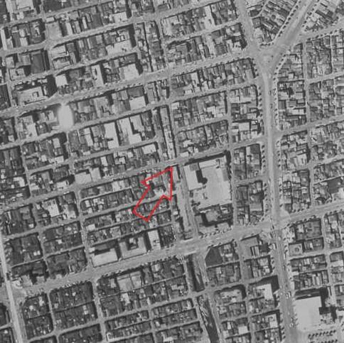 昭和32年撮影の空中写真(国土地理院Webサイトより、KT572YZ-C1-28(1957・3・29)【高砂橋付近】に加筆)の画像。