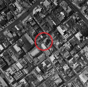 昭和38年撮影の空中写真(国土地理院Webサイトより、MKT636-C8-23(1963・6・26)【緑橋部分に加筆】)の画像。