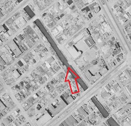 昭和22年撮影の航空写真(国土地理院Webサイトより、USA-M377-68(1947・7・24)【元高砂橋部分】)の画像。