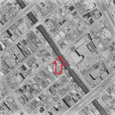 昭和22年撮影航空写真(国土地理院Webサイトより、USA-M377-68(1947・7・24)【高砂橋付近】に加筆)
