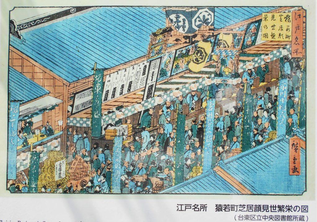台東区設置案内板(山谷堀公園内)掲載の「江戸名所 猿若町芝居顔見世繁盛の図」の画像。