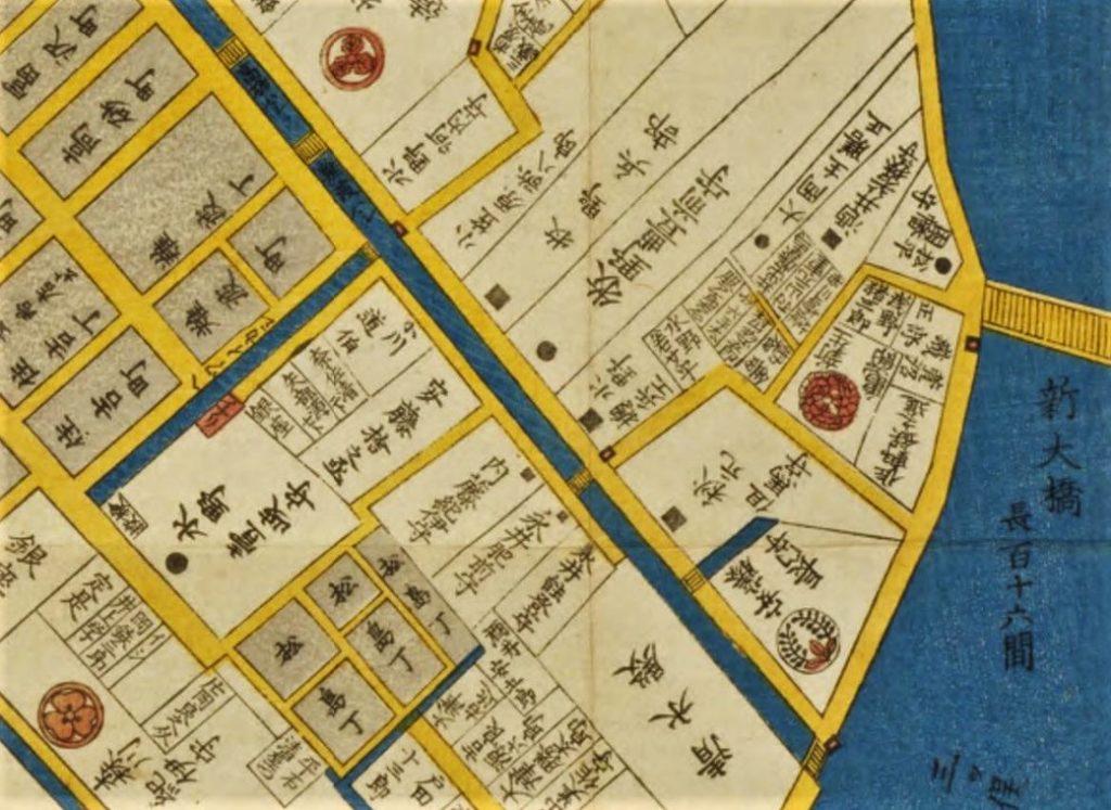 久松伯爵邸(水野藩邸)(『日本橋北神田浜町絵図』影山致恭(尾張屋清七、嘉永3年(1850))国立国会図書館デジタルコレクション)の画像。
