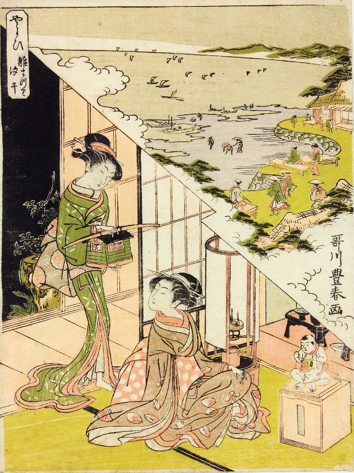 「やよい雛祭汐干」(歌川豊春、大英博物館)の画像。