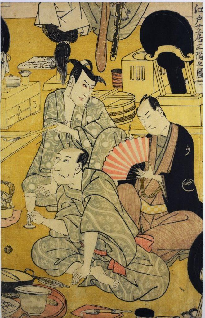 「江戸芝居三階之図」(歌川豊国(初代)1802~3、大英博物館)の画像。