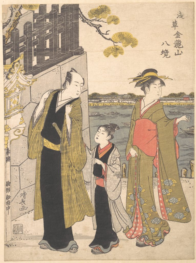 「浅草金竜山八境」(鳥居清長、1787 メトロポリタン美術館)の画像。