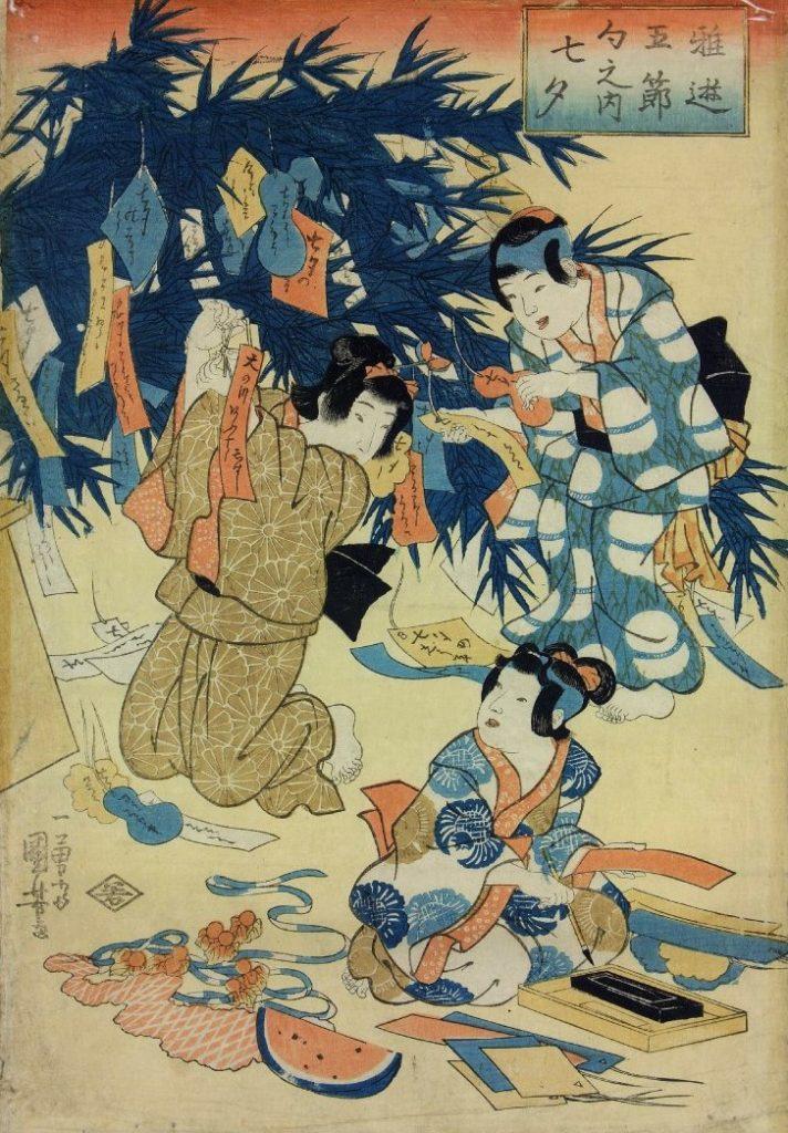 「稚遊五節句内 七夕」(歌川国芳 1840ころ、大英博物館)の画像。