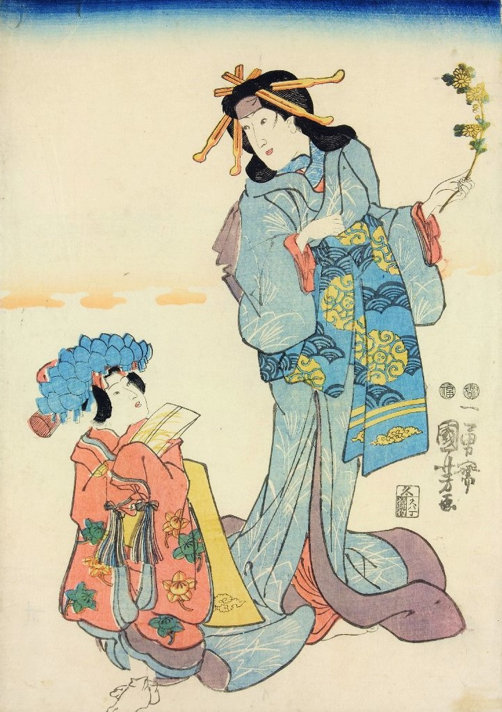 七五三詣で(作品名不明、歌川国芳、大英博物館)の画像。