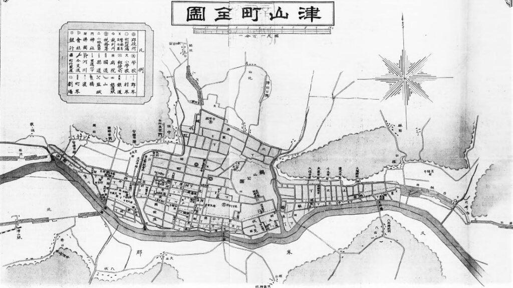 「津山全圖」(森房治(森房治、1913)国立国会図書館デジタルコレクション )の画像。