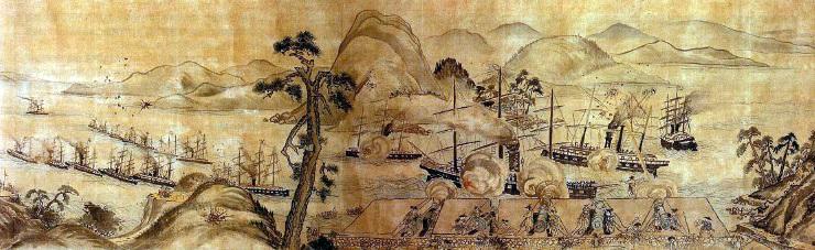 『馬關戰争圖』(部分)、藤島常興 筆、下関市立長府博物館収蔵(Wikipediaより20210228ダウンロード)の画像。