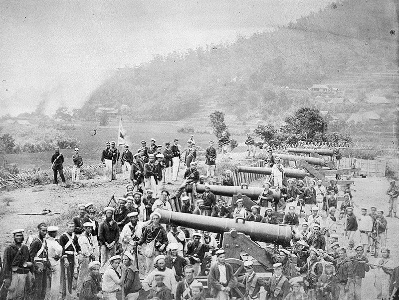下関戦争で連合軍によって占拠された長府の前田砲台、フェリーチェ・ベアト(Wikipediaより20210228ダウンロード)の画像。