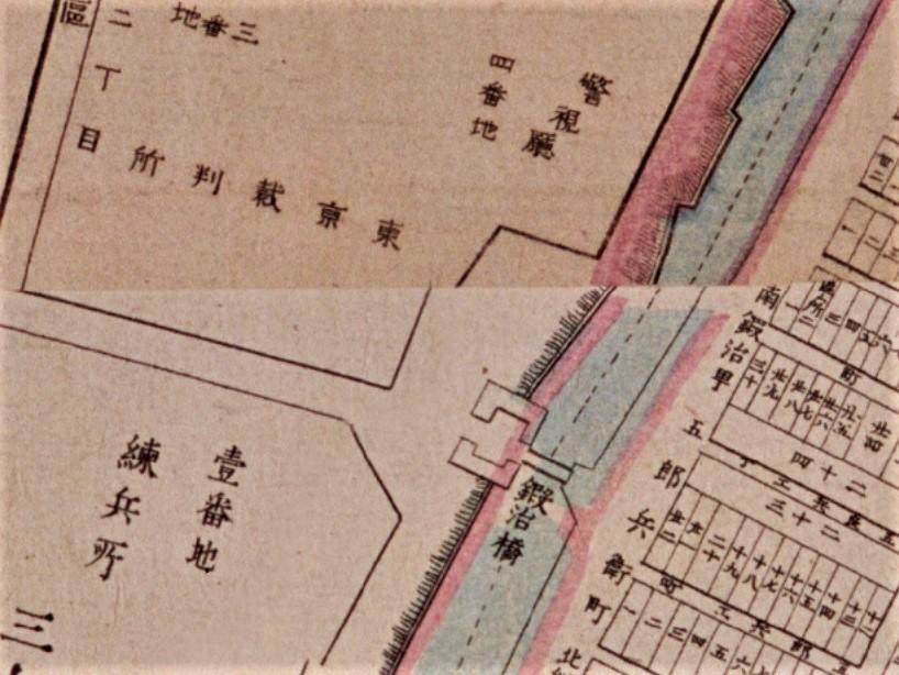 「上屋敷跡(警視庁)」(『明治東京全図』明治9年(1876)国立公文書館デジタルアーカイブ )の画像。