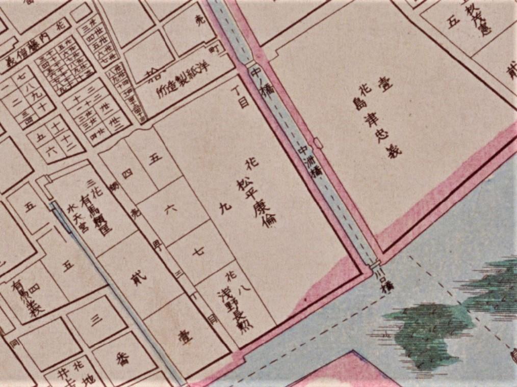 松平子爵蛎殻邸(「明治東京全図」明治9年(1876)国立公文書館デジタルアーカイブ )の画像。