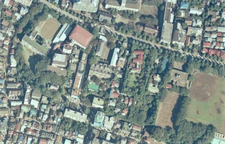 平成1年撮影空中写真(国土地理院Webより、CKT893-C4-26〔部分〕) の画像。