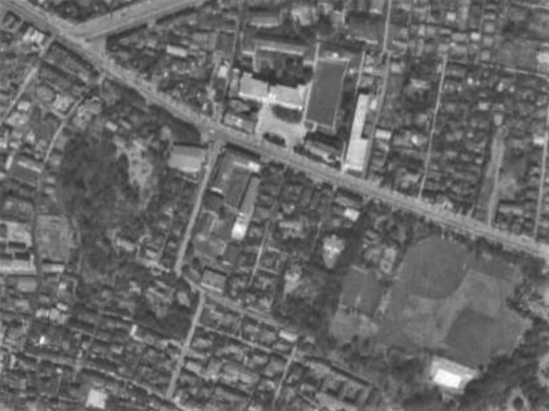 昭和31年撮影空中写真(国土地理院Webより、USA-M316-37〔部分〕)の画像。