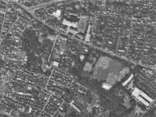 昭和32年撮影空中写真(国土地理院Webより、USA-M1010R1-59〔部分〕)の画像。