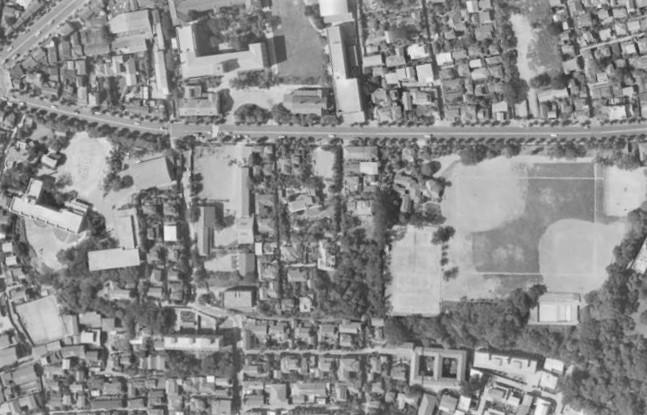 昭和38年撮影空中写真(国土地理院Webより、MKT636-C6-17〔部分〕)の画像。