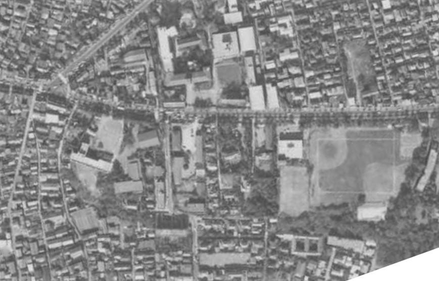 昭和41年撮影空中写真(国土地理院Webより、MKT666X-C5-14〔部分〕)の画像。