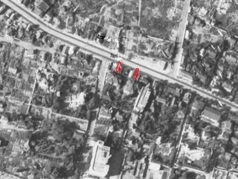 東鳥居坂屋敷、昭和22年撮影空中写真(国土地理院Webサイトより、USA-M449-72〔部分に加筆〕)の画像。