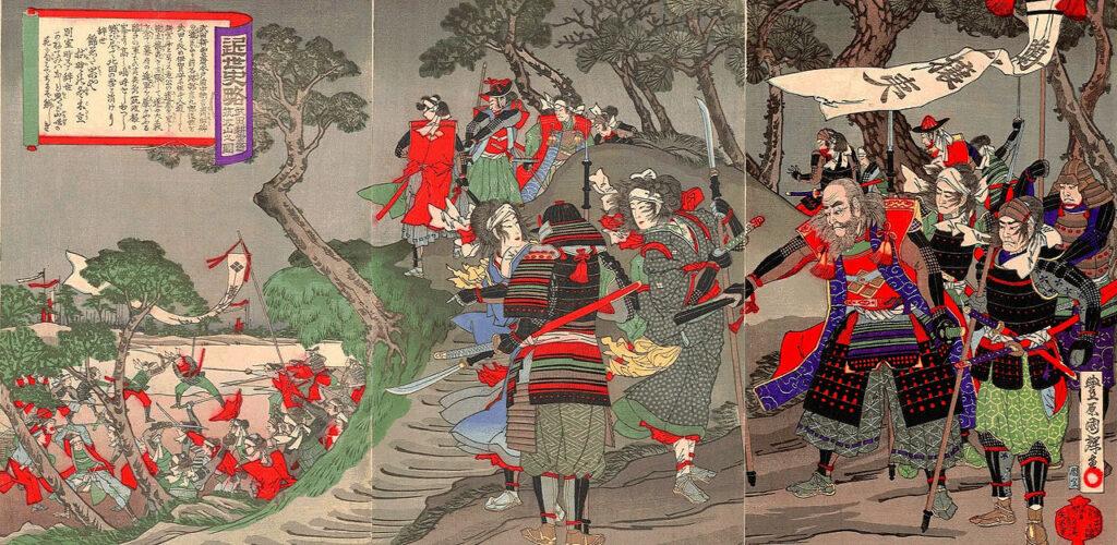 豊原国輝筆「近世史略 武田耕雲斎 筑波山之圖」(Wikipediaより20210322ダウンロード)の画像。