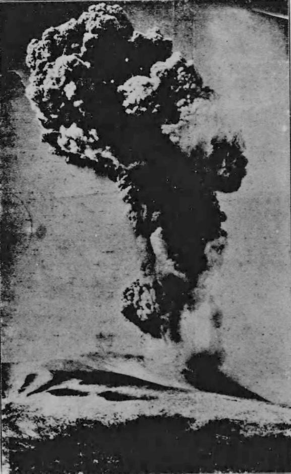 浅間山の噴火(「大正9年12月26日ノ爆発」『浅間山爆発報告』長野測候所編(長野測候所、1921) )の画像。