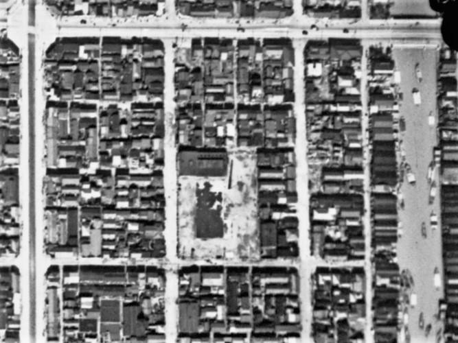 本所菊川町、昭和17年撮影空中写真(国土地理院Webサイトより、C29C-C1-34〔部分〕) の画像。