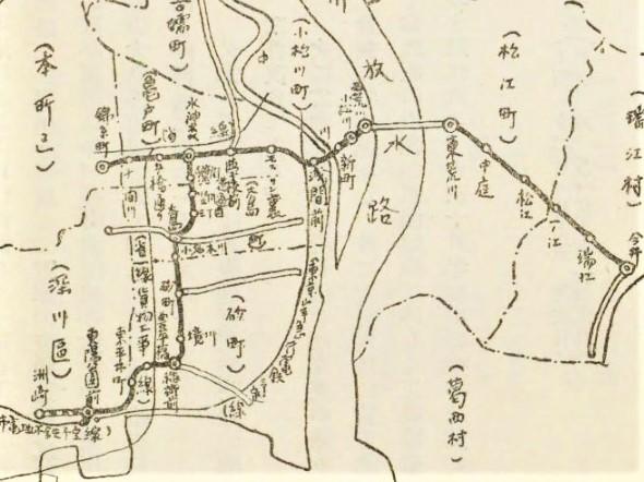 「城東電気軌道路線図」(『東京市郊外に於ける交通機関の発達と人口の増加』東京市編(東京市、1928)国立国会図書館デジタルコレクション )の画像。