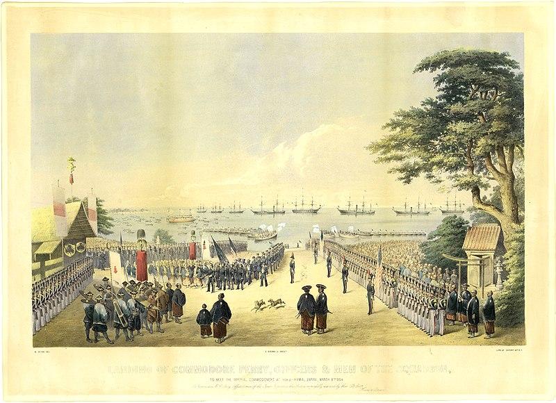 嘉永7年(1854年)横浜への黒船来航 ペリーに随行した画家ヴィルヘルム・ハイネによるリトグラフの画像。