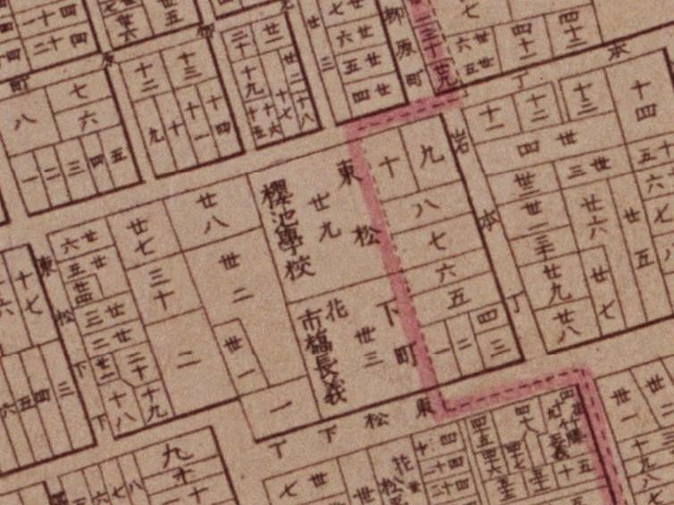 市橋子爵東松下邸(「明治東京全図」明治9年(1876)国立公文書館デジタルアーカイブ〔部分〕)の画像。