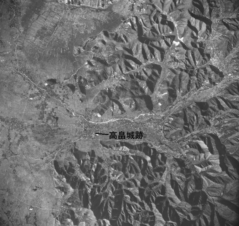 高畠付近昭和23年撮影空中写真(国土地理院Webサイトより、USA-M1186-25〔部分加筆〕の画像。