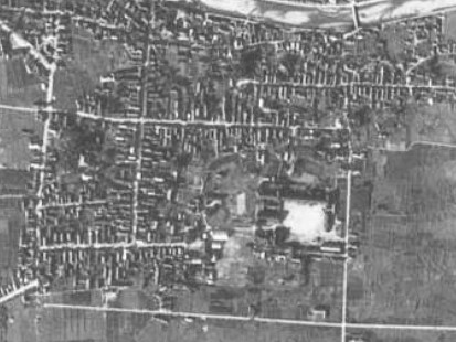 高畠城跡付近、昭和23年撮影空中写真(国土地理院Webサイトより、USA-M1186-25〔部分〕)画像。