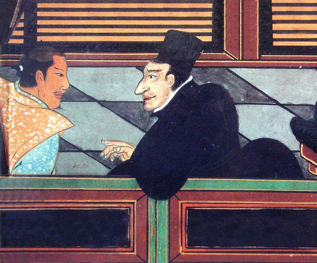 イエズス会員と日本人(1600年ころ)(Wikipediaより20210828ダウンロード)の画像。